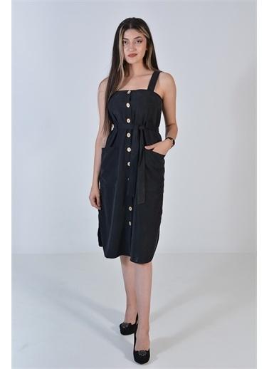 Zeren Kadın Siyah Askılı Ahşap Düğmeli Elbise Siyah